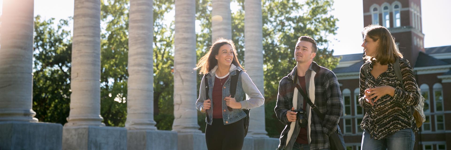 Students walking across Francis Quadrangle