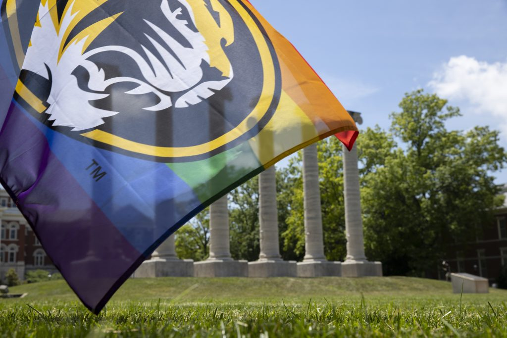 picture of the Mizzou Pride flag in front of the Columns
