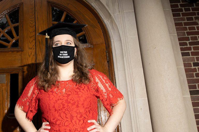 Masters graduation student Sarah Sabatke at the Journalism School May 19, 2020.