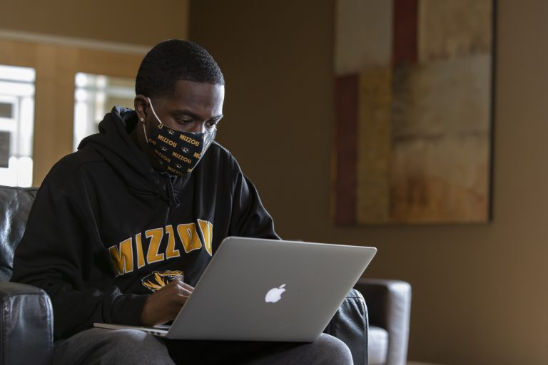 a student studies in the Student Center