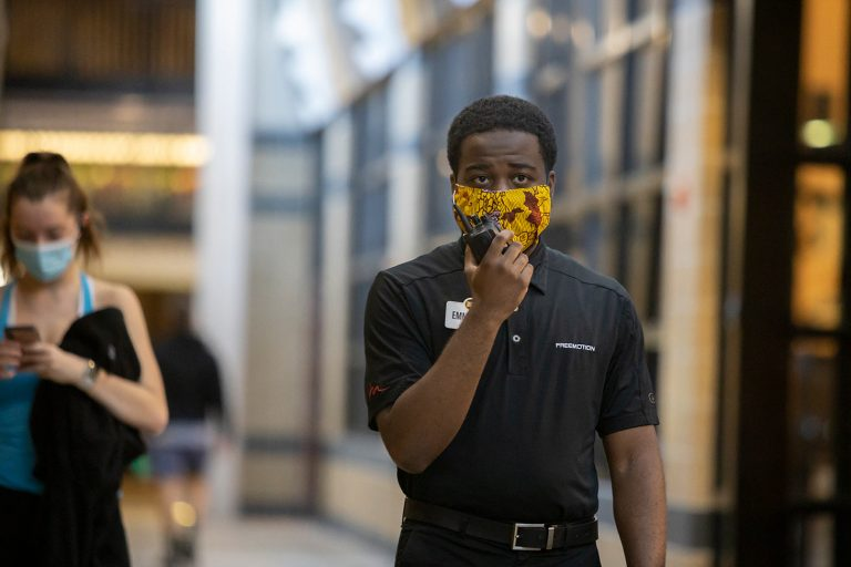 Manny Adetayo surveys MizzouRec during his shift as he reinforces Covid-19 safety protocols