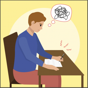 Illustration of a person experiencing anxious thoughts while taking a test