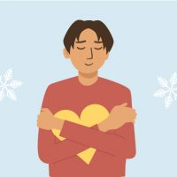 Graphic of a student holding a heart in front of a snowflake background