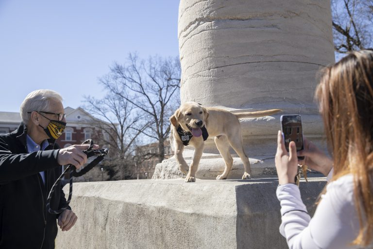 Picture of Bill Stackman and Mac at the Columns