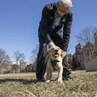 Dr. William Stackman and his 3-month-old dog Mac at the David R. Francis Quadrangle March 03, 2021. Sam O'Keefe/University of Missouri