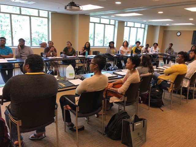 This photograph was snapped during a fall orientation retreat, which took place in the Student Center on August 23, 2019.